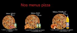Menus pizza solo, duo et family