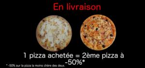 Promotion de pizza en livraison. La deuxième à moitié prix