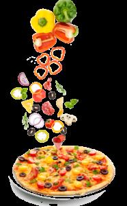 Ingrédients tombant sur la pizza