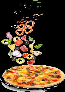 ingrédients tombant sur pizza